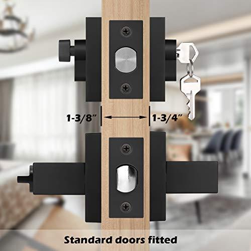 Gobrico Square Entry Lever and Single Cylinder Deadbolt Combination Set,Keyed Alike Front Exterior Door Locksets with Same Key in Matte Black,3 Pack
