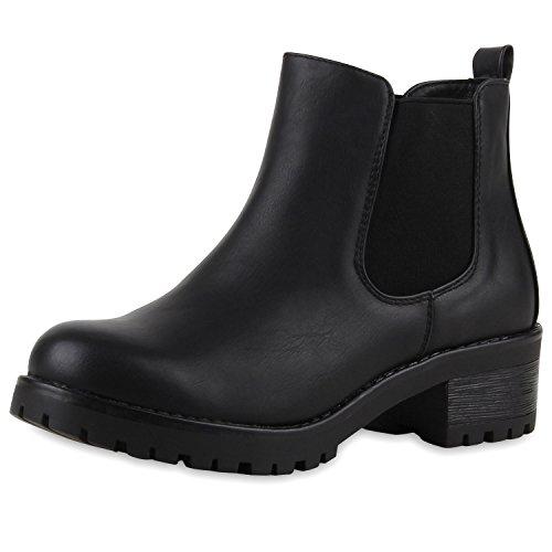 SCARPE VITA Bequeme Damen Chelsea Boots Profilsohle Stiefeletten Blockabsatz 149650 Schwarz Glatt 38