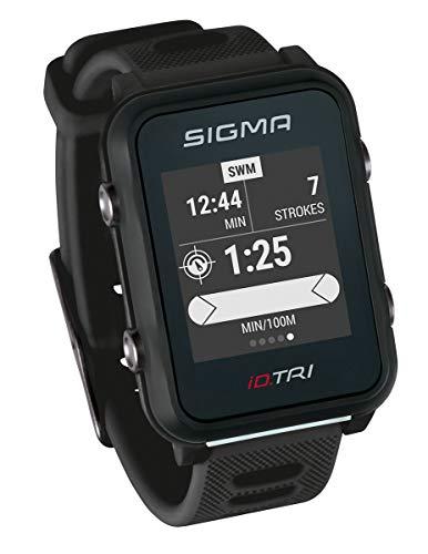 Sigma Sport iD.TRI, GPS Triathlon-Uhr mit Navigation, Smart Notifications, leicht und wasserdicht, inkl. Brustgurt, Geschwindigkeits- und Trittfrequenzsensor sowie Fahrradhalterung