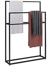 Wing Vrijstaande handdoekrek voor badkamer, zwarte handdoekhouder standaard, keuken badkamer organizer rek, display en winkel badhanddoeken of washandjes, 85 × 20 × 110 cm (L× B × H)
