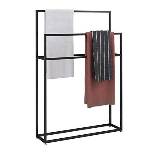 Wing Toallero de pie Negro Metal Toalleros repisa para baño con 2 Barras, Elegante baño toallero en Estilo Moderno, H 110cm,65×20×110cm(L×W×H)