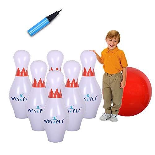 WEYFLY Bowlingkugel Bowling Spielset Kegelspiel Boule-Spiele für Kinder drinnen und draußen Spielzeug, Gartenparty mit 1 Ball, 6 Pin Aufblaserbare Bowling Spielzeug, pädagogische interaktive Spiel