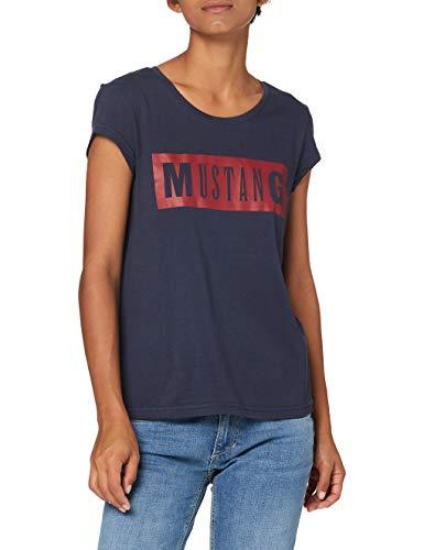 MUSTANG Damen Alina C Logo Tee T-Shirt, Blau (Dunkelblau 4085), L