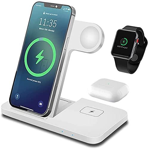 Pliable Chargeur Induction FDGAO 3 en 1 Chargeur sans Fil 15W Station de Charge Rapide Compatible avec Samsung Galaxy S21/S20/Note 20, Apple iWatch série 6/SE/5/4/3/2, AirPods 2/Pro, iPhone 12/11/X/8