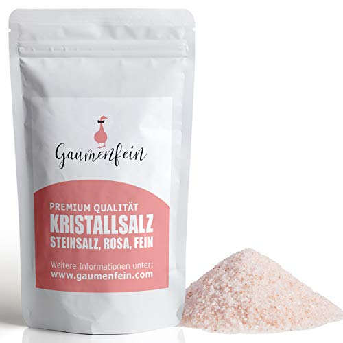 GAUMENFEIN® Kristallsalz Rosa Fein - bekannt als Himalaya Salz - zum Streuen - 100% natürliche Premium Qualität - 250g