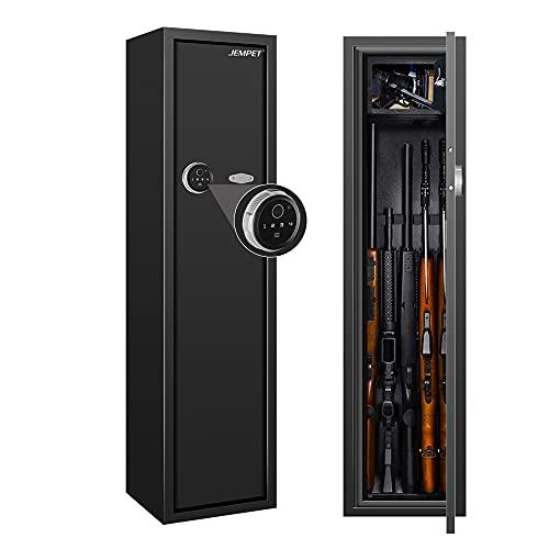 Gun Cabinet, JEMPET Gun Safe Case with Ammo Box, Advanced Locking Cabinet for Hunting Rifles Shotguns Storage - Electronic Keypad & Fingerprint Lock - Large Capacity for Up to 5 Long Guns