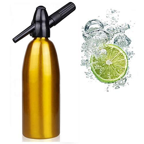 1L Soda Siphon Bottle Maker Soda Stream Machine, Home Drink Juice Bar Cerveza Sifón Machine Bar Technique Tool,Oro