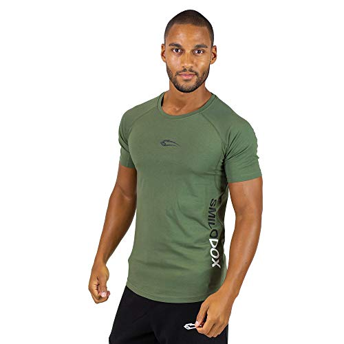 SMILODOX Slim Fit T-Shirt Herren \'Slim Fit 1.0 \' | Kurzarm | Sport Fitness Gym & Training | Trainingsshirt - Sportshirt, Größe:S, Farbe:Dunkel Grün