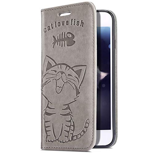 Uposao Upoao Kompatibel mit iPhone XS/iPhone X Hülle, Retro Vintage Katze Muster Ledertasche Wallet Handyhülle Flip Hülle Leder Klapphülle Book Case Handytasche Schutzhülle Ständer,Grau