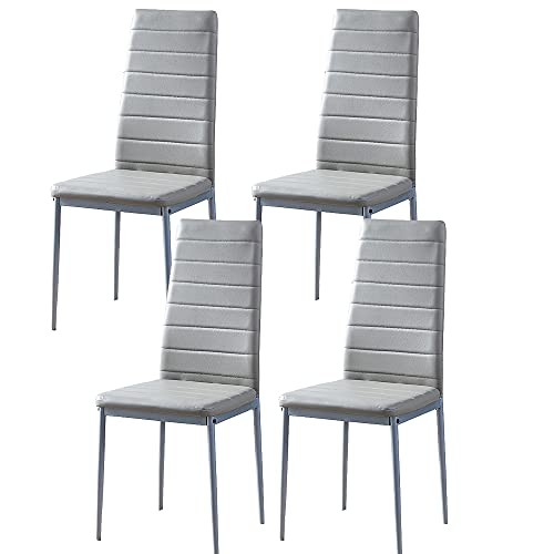 BonChoice Grey PU leather Dining Chairs Set of 4 High Back with Metal Legs for Dining Room Kitchen, Side Chairs for Restaurant Office Meeting Home/Commercial