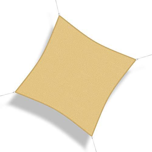 Corasol 110985 Premium Sonnensegel inkl. Zubehör, 3 x 3 m, Quadrat, Wind- & wasserdurchlässig, sandbeige