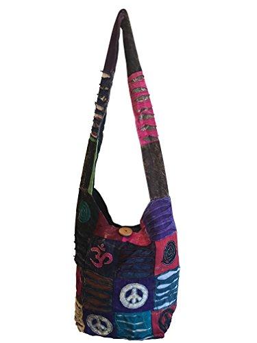 Trendofindia Patchwork Tasche Schultertasche Umhängetasche Peace Om Shopper