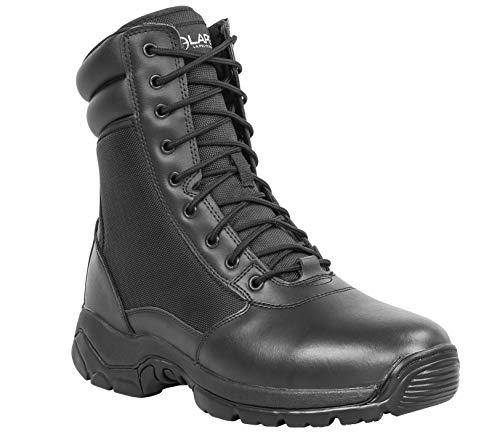 LA Police Gear Men's Tactical Core 8' Leather Side-Zip Duty/Uniform Boot-12-STANDARD Black