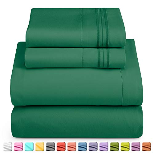 Nestl Luxury Queen Sheet Set - 4 Piece Extra Soft 1800 Microfiber-Deep Pocket Bed Sheets with Fitted Sheet, Flat Sheet, 2 Pillow Cases-Breathable, Hotel Grade Comfort and Softness - Hunter Green