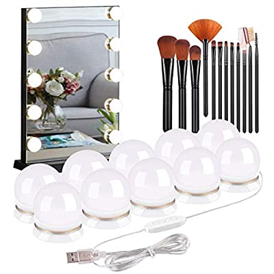 Vanity Mirror Lights USB 10 Bulbs Kit Hollywood Style Mirror Dimmable LED Fill Lights for Makeup Dressing Table Lamp Fixture, Outdoor Strip Lighting 3000K-6500K Include 12 Pcs Makeup Brushes Set