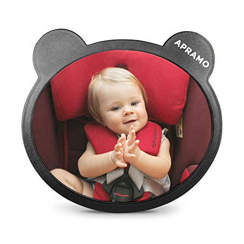 APROMA Baby Car Mirror with Ears - Adjustable Backseat Mirror with Wide Crystal Clear View, Safely Monitor Infant in Rear Facing Car Seat, Fully Assembled, Shatterproof