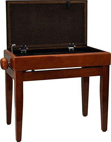 Steinbach Klavierbank mit Notenfach in Kirsche poliert mit braunem Stoffbezug
