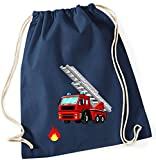 Zuzieh Turnbeutel für Kinder | Motiv Feuerwehr mit Leiter & Flamme | Schuhbeutel Sportbeutel zum Zuziehen für Jungen | Stoffbeutel mit Kordel in blau grau grün (dunkelblau)