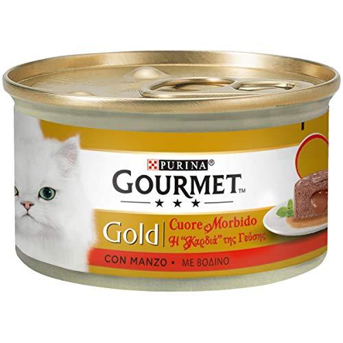 Purina Gourmet Gold Umido Gatto Cuore Morbido, con Manzo - 24 lattine da 400 g ciascuna