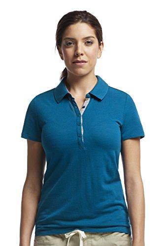 Icebreaker Damen Poloshirt Tech Lite Short Sleeve Polo, Isle/Metro HTHR, XS