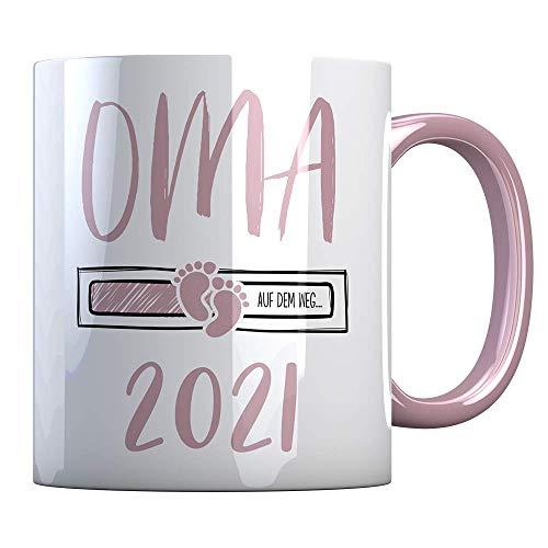 Tassenbude Kaffee-Tasse Oma 2021 loading Geschenk-Idee für werdende Oma Schwangerschaft Geburt Baby beidseitig bedruckt rosa spülmaschinenfest