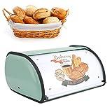 Caja de Pan de Metal Bandeja de Pan con Tapa Lata de Pan de Patrón Lindo de Dibujos Animados para Muebles de Cocina de Gran...