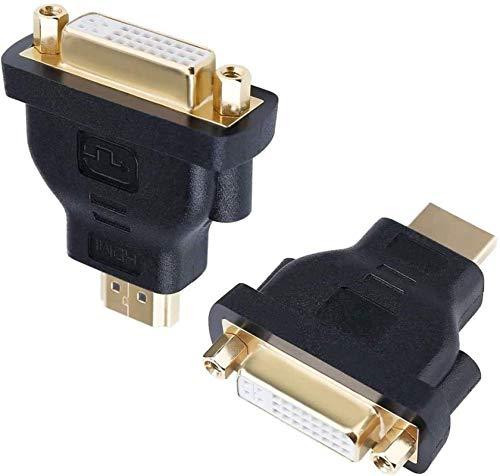 PFTHDE Adaptador DVI a HDMI Bidireccional DVI 24 5 Convertidor Hembra a HDMI Macho Paquete de 2