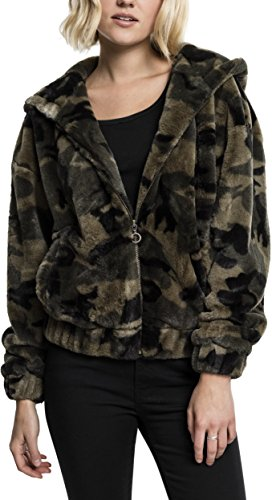 Urban Classics Damen Ladies Teddy Jacket Kapuzenpullover, Mehrfarbig (Olive camo 775), Medium
