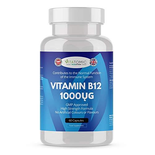 Vitamin B12 Fatigue Pills 1000mcg - 60 Vegan Tablets - High Strength Halal Blood Circulation Supplement Vitamins by Primestores