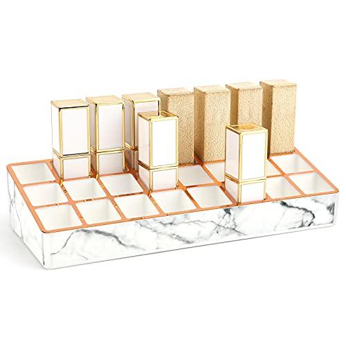 Luxspire Lippenstifthalter, 24 Fächer PS Goldrand Lagerregal, Dekoration Organizer Makeup Aufbewahrungsbox für Lippenstift - Marmor Weiß