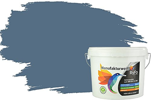 RyFo Colors Bunte Wandfarbe Manufakturweiß Rauchblau 6l - weitere Blau Farbtöne und Größen erhältlich, Deckkraft Klasse 1, Nassabrieb Klasse 1