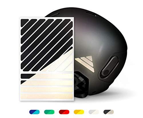 reflexsticker Streifen-Mix | Classic-Edition mit 6 Farben zur Auswahl | Zwei Reflexionsstärken (Light und Pro) | Bogenmaß L (16 x 10,5 cm) | für Kinderwagen, Fahrrad, Helme, Lastenrad (Light-schwarz)