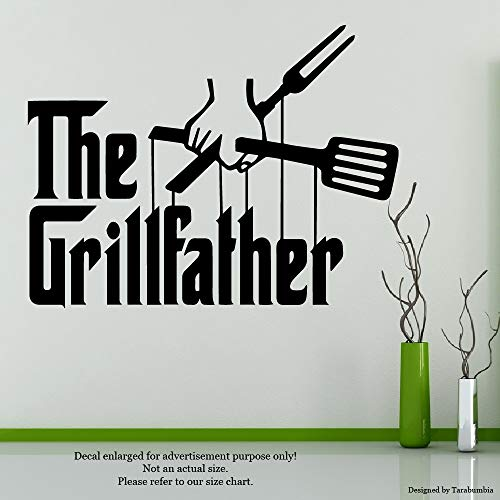 """FunKitchen Art Quotes Wall Decals""""The Grillfather"""" Stickers Decorative Design Ideas for Your Home Or Office Walls Removable Vinyl Murals AV-0078"""