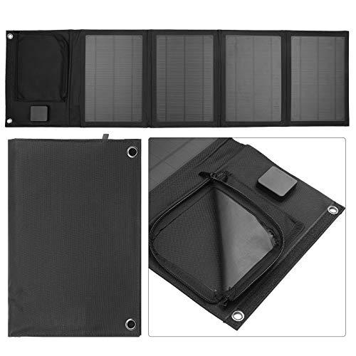 Cargador solar, cargador de panel solar plegable de 30 W con dos puertos USB de 5 V para teléfono celular, banco de energía, coche, barco, RV, carga de rejilla