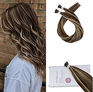 Moresoo 18 Inch Cold Fusion Hair Extensions Human Hair 0.8g/s Keratin I Tip Hair Extensions Color #4 Mixed with #14 Blonde Real Human Hair 50s 40g/Pack
