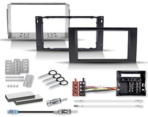 Einbauset mit 2-DIN Radioblende Radioadapter Quadlock auf ISO, Antennenadapter mit Phantomeinspeisung