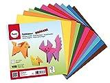 RAYHER 3371831000 Carta Origami, 100 Fogli Assortiti in 10 Colori Base bilaterali, 15x15cm, 80g/m2, per Bambini ed Adulti, lavorazioni con Carta bricolage