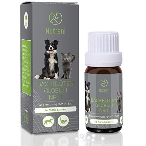 Nutrani Bachblüten Globuli Nr. 1 für Hunde und Katzen | Unterstützung bei Notfall, Stress und Angst – Blütenmischung nach Dr. Bach zur Beruhigung und Entspannung gestresster und verängstigter Tiere