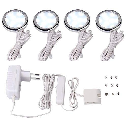 LED Unterbau Leuchte, 4 er-Set, 4W sehr flach, LED Küchen Lichtfarbe: blau, Montagefertig inkl,Küchenlampen, Schrankleuchten, Vitrinenbeleuchtung (Weiß)