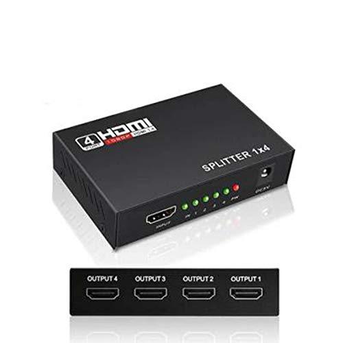 KoelrMsd Divisor Compatible con HDMI 1 X 4 Adaptador Alimentado de 1 Entrada y 4 Salidas con resoluciones Full Ultra 1080P 4K / 2K y 3D
