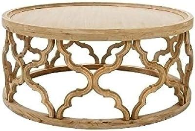 WOMO-DESIGN Tavolino da Salotto Tavolino Caff/è Fatto a Mano Rotondo /Ø 60 x 37 cm Colore Argento in Alluminio Tavolinetto Soggiorno Design Piatto Tavolino da Divano con Finitura Martellata Orientale