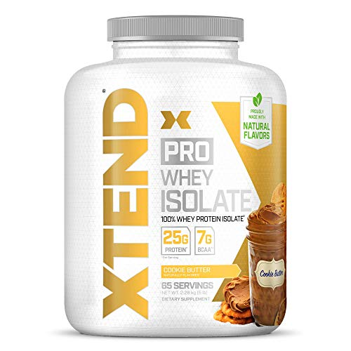 XTEND Pro Protein Powder Cookie Butter | 100% Whey Protein Isolate | Keto Friendly + 7g BCAAs with Natural Flavors | Gluten Free Low Fat Post Workout Drink | 5lbs