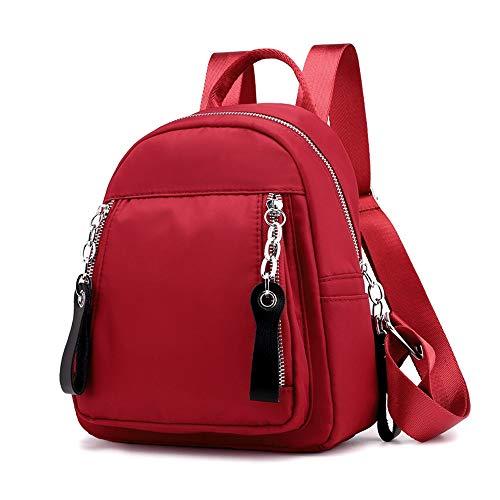 Umhängetasche Rucksack weibliche Fans kleine Tasche Allgleiches Oxford Tuch Mode Persönlichkeit kleines Rucksack Nylon beiläufiger Rucksack Reisetasche Schultasche (Color : Rot)
