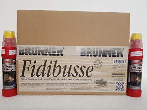 Fidibusse Brunner Ofenanzünder Grillanzünder Anzünder 350 Stück + Kaminglas Reiniger 2 Flaschen á 200ml