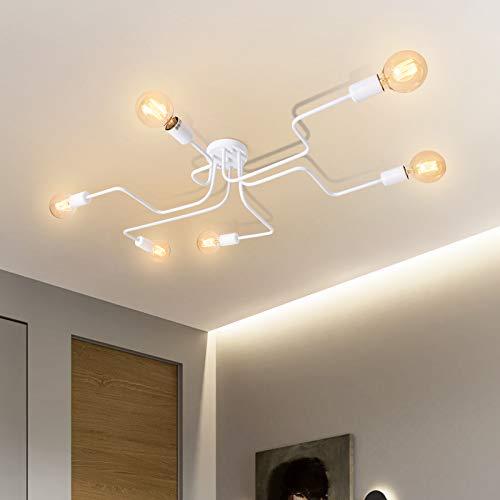 OYIPRO Moderno Iluminación de techo Blanco Lámparas de araña 6 E27 Portalámparas para salón comedor Bar Restaurante cafeteria (Sin bombilla)