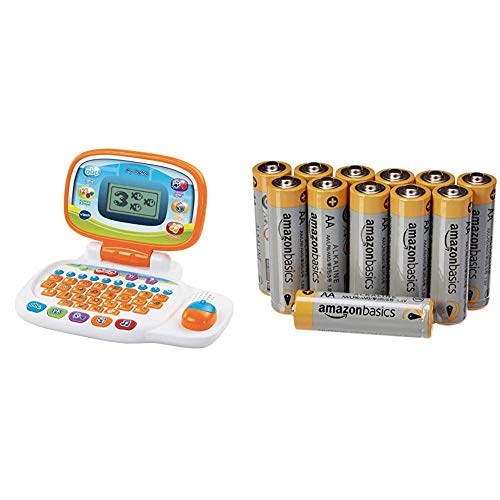 VTech 155403 Pre School Laptop Interactive Educational Kids Computer Toy with 30 Activities, White/Orange & Amazon Basics AA Performance Alkaline Batteries (12-Pack)