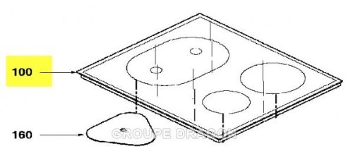 DE DIETRICH - dessus verre vitro-ceram AS0008919 pour table de cuisson DE DIETRICH