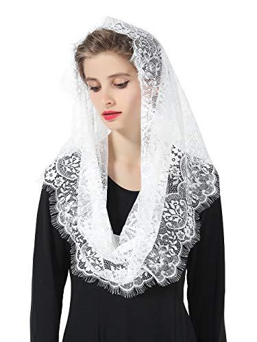 Mantilla De Encaje Española Mujer Capilla Velo Pañuelo de Iglesia Católica Bordado Chal Bufanda Negra Blanca V100