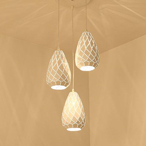 MEGSYL Ronde ijzeren plafondlamp, Nordic modern, eenvoudige industriële wind creatieve kunst kroonluchter, woonkamer restaurant balkon decoratieve verlichting kroonluchter, 3 lichtbronnen cracked water druppel hangende lamp, creatieve geometrische plafondlamp, wit