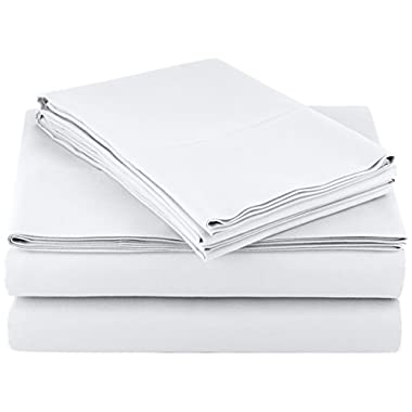 AmazonBasics Microfiber Sheet Set, Cal King, Bright White